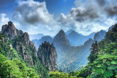 A View of the Yellow mountains from one of the mountain peaks, Huangshan, Anhui province,China