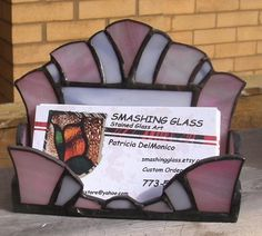 Stained Glass Business Card Holder Clear Architectural Art Modern Contemporary Desk Accessory Office Handmade Ooak Holders On And