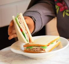 American Girl Doll Food  Turkey Provolone Sandwich by FauxRealFood