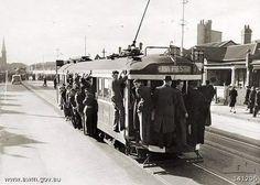 An overcrowded East Preston tram in Brunswick Street, Fitzroy North, in Melbourne Tram, Melbourne Suburbs, Melbourne Australia, Australia Photos, Melbourne Victoria, Victoria Australia, Old Pictures, Old Photos, Share Photos