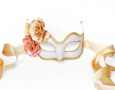 Gray & Gold Masquerade Mask With Flowers  Floral by SOFFITTA
