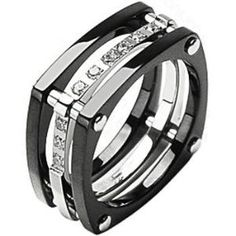 Size 11 -Spikes Titanium Square Root ip Black cz Ring
