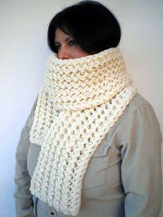 Ivory Ivy Scarf Soft Wool Big  NeckwarmerWomen/Men by GiuliaKnit, $69.00