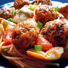 Spaghetti with Quinoa Meatballs. Vegetarian recipes from cilantroandcitronella.com