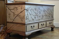 Vintage Hand Painted Cedar Hope Chest, Blanket Chest, Artist Signed, c 1920's, Cream, Grey, Taupe, Silver, furniture