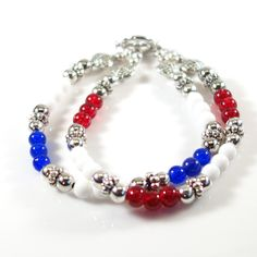 Women's Red, White and Blue Beaded Double Bracelet by DungleBees on Etsy