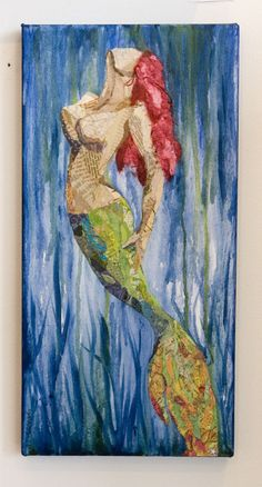 Mermaid Torn Paper Painting by Wanda Edwards @ The Little Beach Gallery Mermaid Cove, Mermaid Art, Mermaid Paintings, Mermaid Tails, Manga Mermaid, Tattoo Mermaid, Real Mermaids, Mermaids And Mermen, Fantasy Mermaids