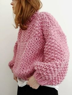 1ffbd0cd396aa8 Chunky pink knitted sweater Chunky Knit Cardigan