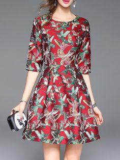3/4 Sleeve Folds Animal Print Crew Neck Casual Mini Dress