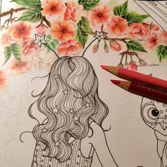 April, the month of cherry blossom  #thetimechamber #coloringpencils #coloringforadults #dariasong #coloringbook #coloriage #colouringbook #adultcoloringbook #adultcolouringbook #prismacolor #thetimegarden #secretgarden #cherryblossom #spring #april #lovecolors #thetimechambercoloringbook #coloring #colouring #coloredpencil