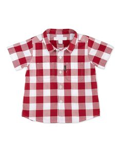 Gingham Two-Pocket Shirt, Red, 3-18 Months