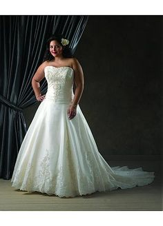 NOUVEAU! Stunning Taffeta Strapless Neckline Natural Waistline Plus Size A-line Wedding Dress