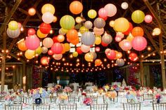 Coloured paper lanterns - barn wedding - wedding lighting - party lighting