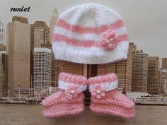 2838834b8f0b Set bébé naissance bonnet + chaussons - rose,chaussons bébé rose,bonnet  bébé laine