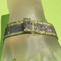 Simply Stripes ... Bracelet . Peyote . Chartreuse . by time2cre8