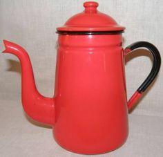 9in tall. Vintage Red Enamelware Graniteware 56oz Gooseneck Spout Metal Coffee Pot