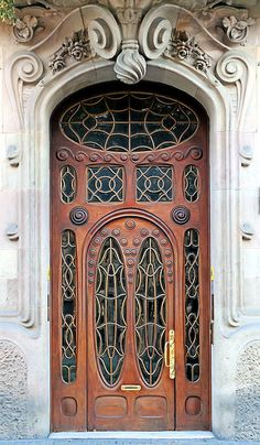 Art Nouveau door in Barcelona, Spain. - Casa Comalat  1911  Architect: Salvador Valeri i Pupurull