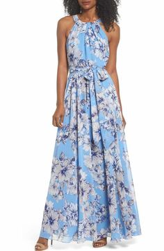 Free shipping and returns on Eliza J Halter Neck Ruffle Chiffon Maxi Dress at Nordstrom.com. This romantic maxi accents your every move with asymmetrical, ruffled tiers spiraling from a cutaway bodice that lets your shoulders soak up both warm sunshine and compliments.
