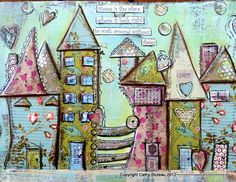 House Art Print - poster mixed media, house prints, colorful, whimsical, bold colors (love this design. Mixed Media Journal, Mixed Media Canvas, Mixed Media Art, Kunstjournal Inspiration, Art Journal Inspiration, Kunst Poster, Art Journal Pages, Art Journaling, Junk Journal