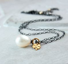 White Pearl Necklace  Mixed Metal  Jewelry  June by Hildes on Etsy