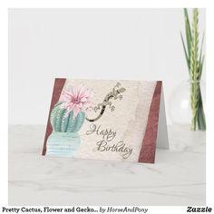 Pretty Cactus, Flower and Gecko Southwest Birthday Card