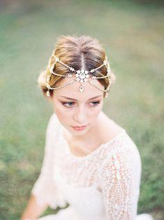 Melora Swarovski Crystal Headband Gold Bridal by BrideLaBoheme