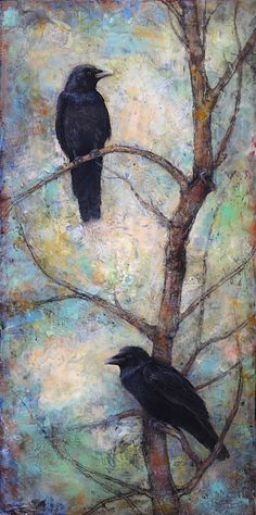 @2014 Lori McNee NIGHT WATCH - RAVENS 48x24 encaustic wax painting www.lorimcnee.com Please email Lori for more info lori@lorimcnee.com