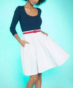 Look at this #zulilyfind! Navy & White Allison A-Line Dress - Plus Too #zulilyfinds
