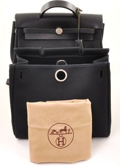 Auth Hermes Herbag 2 In 1 Black Canvas Leather Backpack Hand Bag H304