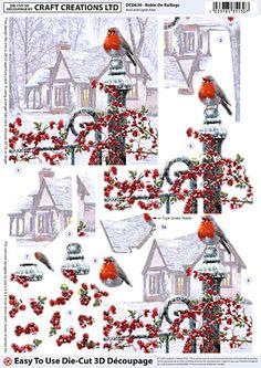 Craft Creations die cut decoupage - Robin on Railings Homemade Christmas Cards, Christmas Cards To Make, Diy Christmas Ornaments, Xmas Cards, Christmas Sheets, Mushroom Crafts, Illustrations Vintage, Christmas Decoupage, Decoupage Printables