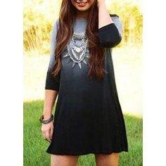 #trendsgal.com - #Trendsgal 3 4 Sleeve Jewel Neck Gradiente Dress - AdoreWe.com