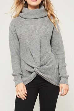 Grey Knotted Knit Turtleneck Pullover Sweater  fashion  clothing  shoes   accessories  womensclothing  sweaters (ebay link) 3a9b5982c