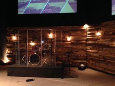 Re-purposed Wood Pallets for Church Worship Stage.