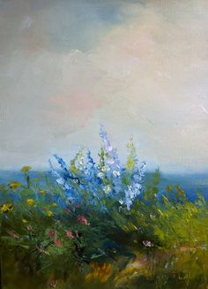 Delphiniums By the Sea Original Oil Painting 16 x 20 by Studio155, $165.00