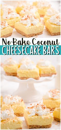 Easy No-Bake Coconut Cheesecake Bars made with just 6 ingredients and so delicious! Coconut Pudding mix, cream cheese and whipped cream unite in this simple no-bake cheesecake recipe. #nobake #coconut #cheesecake #dessert #easyrecipe from BUTTER WITH A SIDE OF BREAD Recipes Using Fruit, Best Dessert Recipes, Amazing Recipes, Delicious Desserts, Snack Recipes, Awesome Recipe, Bar Recipes, Easy No Bake Cheesecake, Coconut Cheesecake