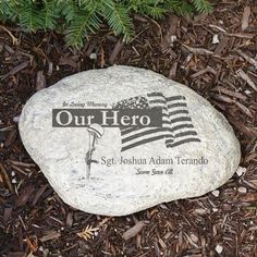 Personalized Engraved Military Memorial Garden Stone