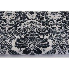 Bawełna 100% ornament czarny na białym tle
