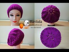 How to crochet hearts beret hat free pattern tutorial - YouTube