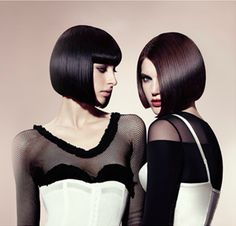 The classic bob, with and without bangs. Thank you Sassoon! Latest Haircuts, Bob Haircuts For Women, Short Hairstyles For Women, 2015 Hairstyles, Cool Hairstyles, Just Beauty, Hair Beauty, Short Hair Cuts, Short Hair Styles