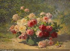 A Mixed Bouquet of Roses in a Green Barrel by Abbott Fuller Graves