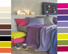 sábanas, fundas nórdicas, fundas de almohada, sabanas ajustables, cuadrantes, ... en 17 colores. En algodón 100%.    www.teixitsagell.com