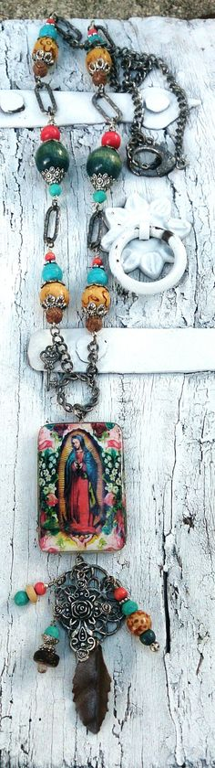 Mother Mary Long Religious Necklace One Of A Kind $48.00 by The Secret Stash Boutique www.etsy.com/shop/secretstashboutique