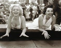 """""""I'll never forget Marilyn saying, 'It's for all time, isn't?' Yes, I told her. It's for all time, or as long as the cement lasts…She made me cry, she was so sweet. I believed in her. We made a hell of a team and I wish we had done another picture together.""""- Jane Russell"""