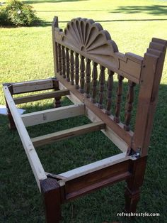 how to make a headboard bench using a coffee table!  Brilliant!