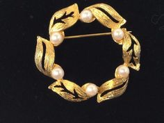 Vintage Faux Pearl and Gold Leaf Wreath Brooch #Unbranded