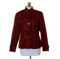 Coldwater Creek Red & Black Floral Artsy Brocaded Lined Button Banded Jacket 12 #ColdwaterCreek #BasicJacket