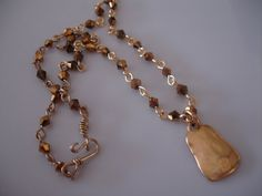 Bronze Gold Beaded Wired Pendant Necklace  by ClassicModernNatural, $15.00
