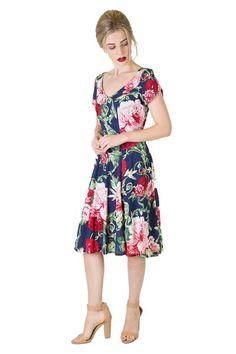 bridgette-navy-floral Day Dresses, Summer Dresses, Body Shapes, Special Occasion, Midi Skirt, Floral Prints, Short Sleeves, Formal, Skirts