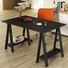Mesa/Escrivaninha Cavalete Bely em MDF Preto - Uvim