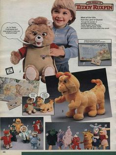 Teddy Ruxpin from Sears Christmas Catalog 1986 90s Toys, Retro Toys, Vintage Toys, Vintage Movies, Teddy Ruxpin, 1980s Childhood, My Childhood Memories, 1980s Kids, The 1980s